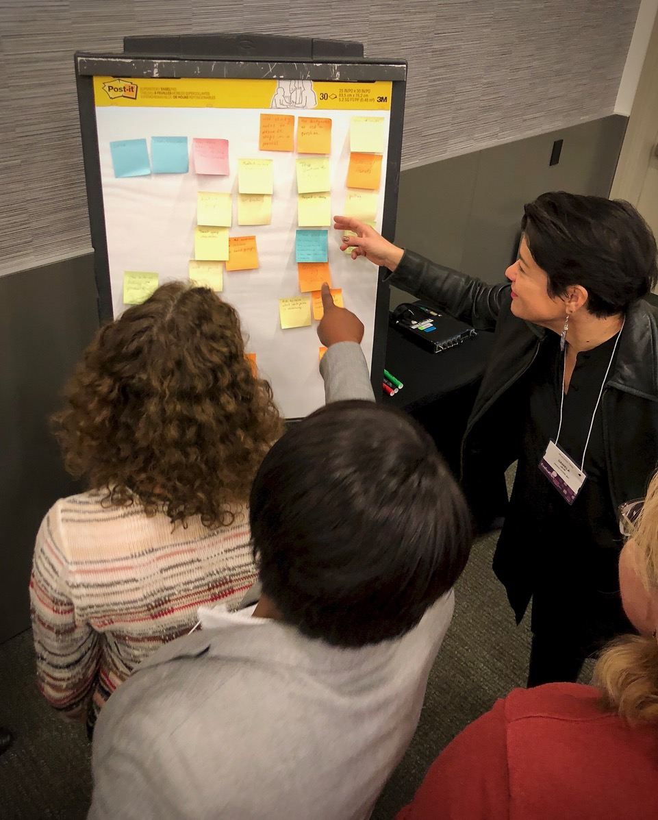 several ladies looking at a white board covered with post it notes