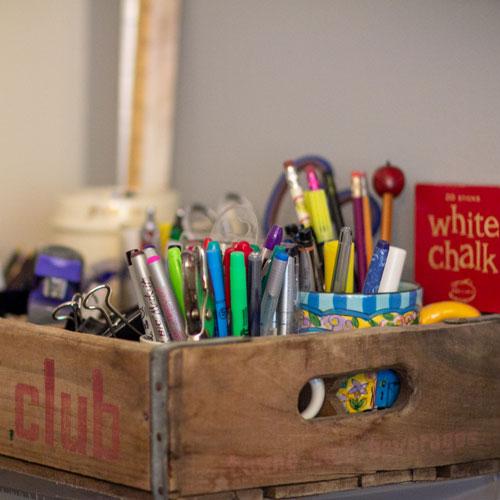 Sheila's box of teaching supplies