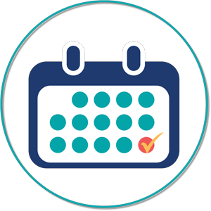 teal and blue calendar icon